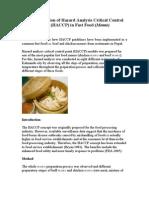 HACCP in Fast Food
