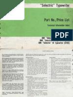 """IBM, 1981 - """"Selectric"""" Typewriter Part No./Price List"""