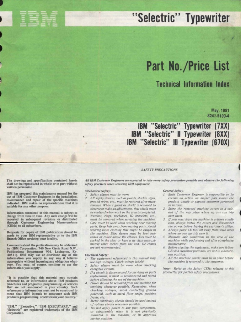 Typewriters & Word Processors IBM SELECTRIC TYPEWRITER PART 1 EA ...
