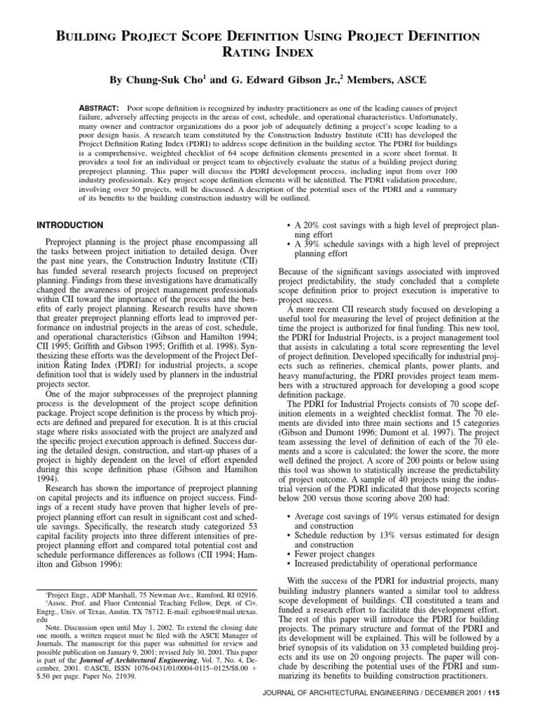 BUILDING PROJECT SCOPE DEFINITION USING - PDRI pdf