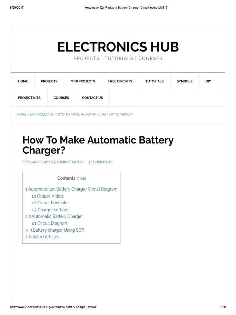 Automatic 12v Portable Battery Charger Circuit Using Lm317 Electronic Devices And Circuits Salivahanan Pdf Free Download Electricity
