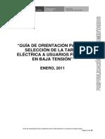 Guia Seleccion Tarifas en BT - MEM