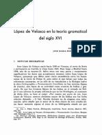 Lopez de Velasco en La Teoría Gramatical Del Siglo XVI