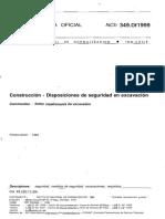 NCh 349 Of1999 Construcción-Disposiciones de Seguridad en Excavacion