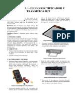 Informe Laboratorio Electronioca Analoga. PRACTICA 1- DIODO RECTIFICADOR Y TRANSISTOR BJT