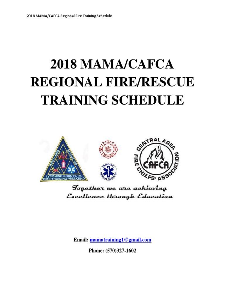 2018 Mamacafca Regional Firerescue Training Schedule Firefighter