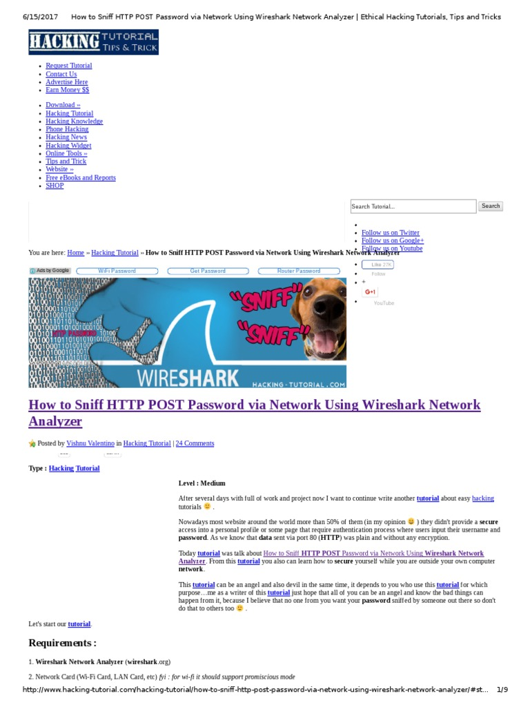 How to Sniff HTTP POST Password via Network Using Wireshark Network