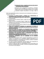 Requisitos de La Autorización Para La Manipulación de Explosivos y Materiales Relacionados