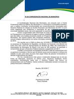 Manifesto da CNM sobre a MP de Auxílio Financeiro aos Municípios