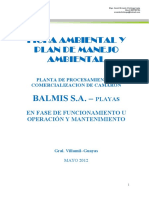 Ficha y Plan de Manejo Ambiental de Balmis S.a.-playas