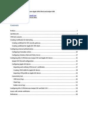Apple VPN and Juniper SRX | Public Key Certificate | Radius
