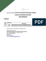 Change in Authorised Signatories Corporate