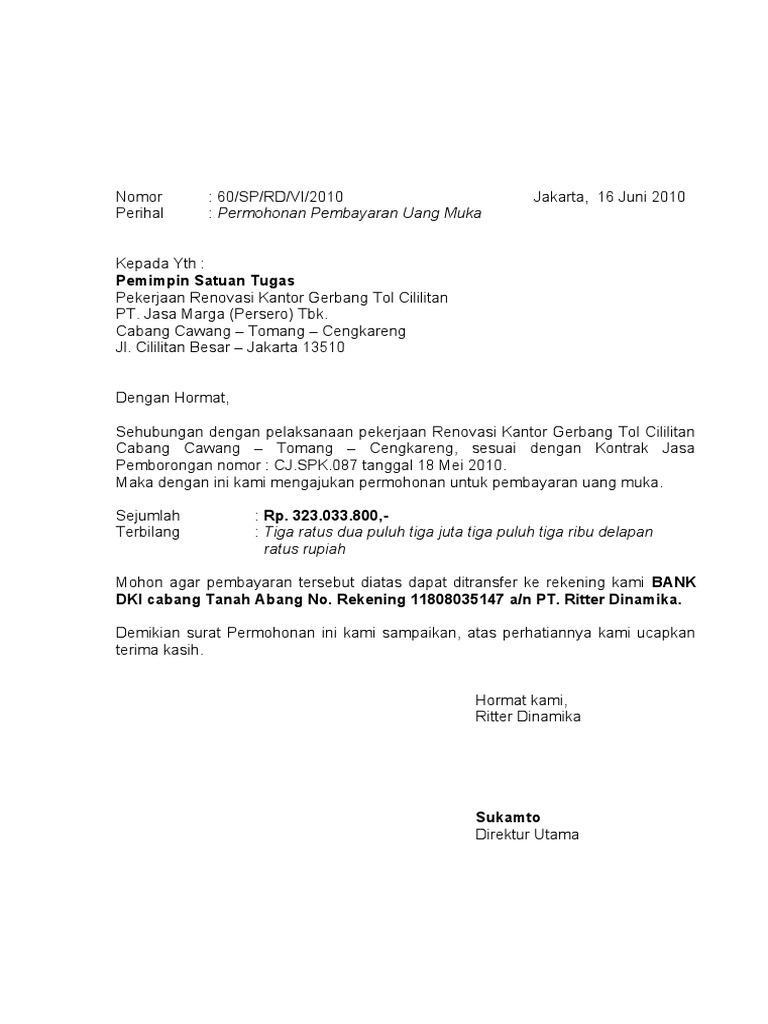Surat An Uang Muka