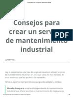 Consejos Para Crear Un Servicio de Mantenimiento Industrial