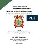TESIS Control Interno y El Proceso de Adquisiciones y Contrataciones en La Municipalidad Distrital de Zepita Chucuito -Puno 2016