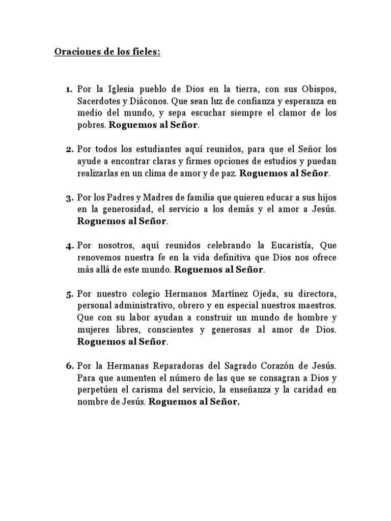 Oracion De Los Fieles Misa Liturgia Eucaristía