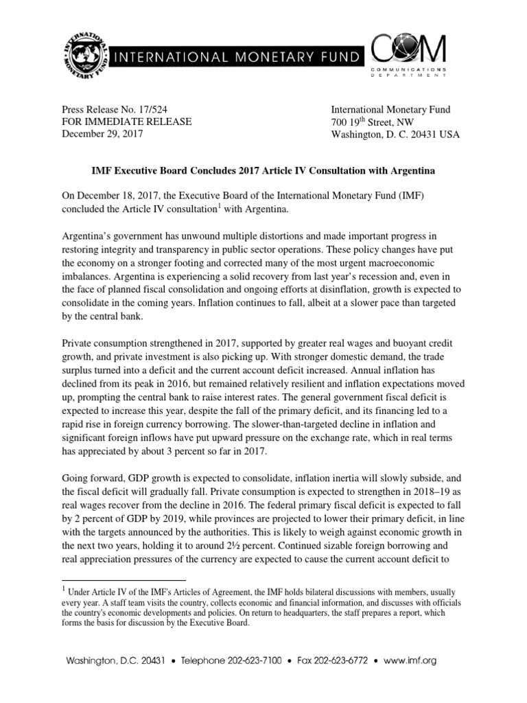 Pr17524 Argentina Imf Executive Board Concludes 2017 Article Iv