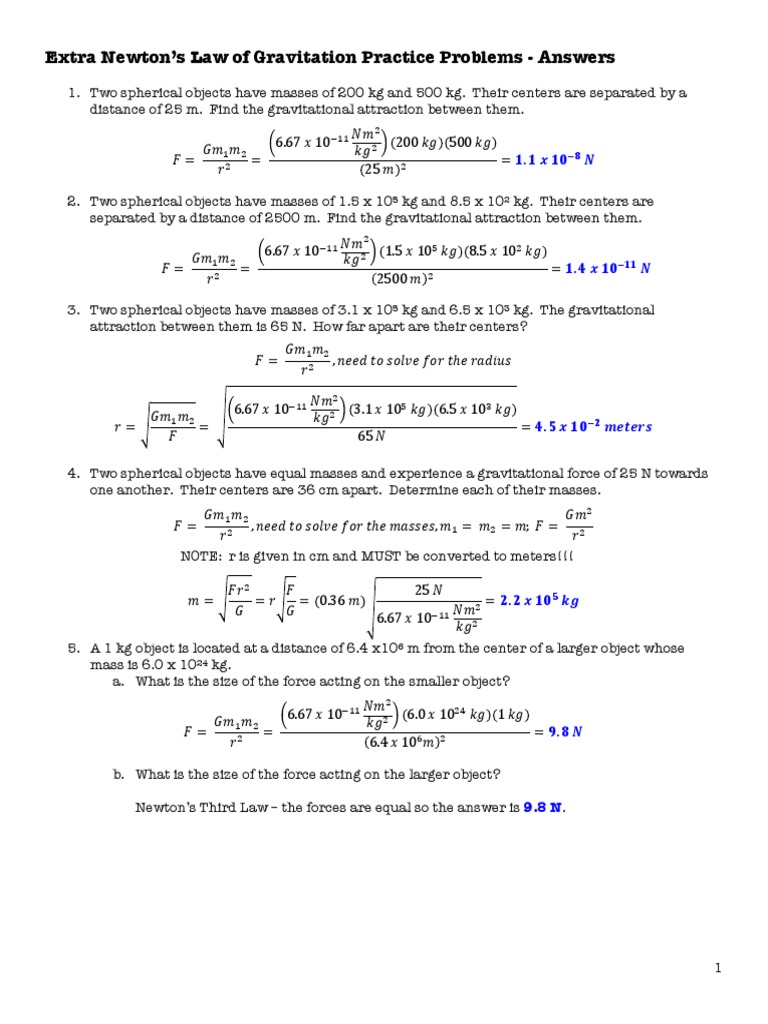 Newtons Law of Universal Gravitation Answers.pdf | Gravity | Force