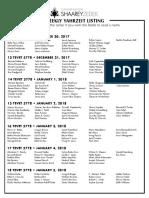 December 30, 2017 Yahrzeit List