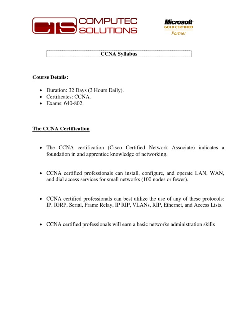 Ccna Cisco Certifications Computer Network