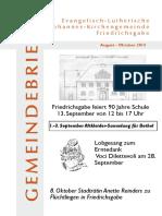 Gemeindebrief August - Oktober 2014