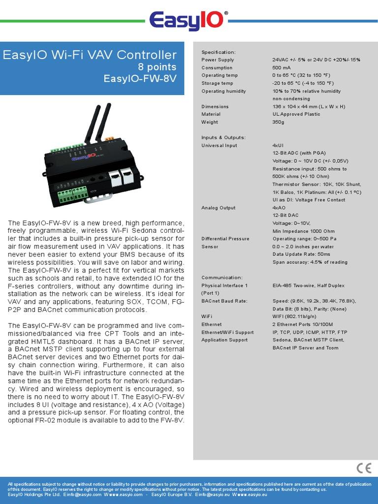 EasyIO Wi-Fi Controller 8 Points Easy IO FW 8V pdf | Wi Fi | Port
