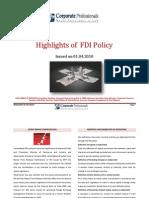 Corporate Professionals-Highlights of FDI-10.04.2010