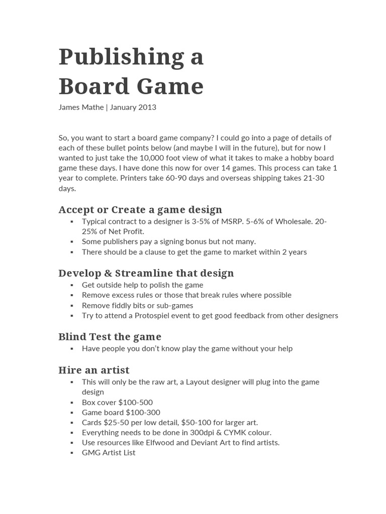 Publishing A Board GameJames Mathe List Price Warehouse - Board game design document