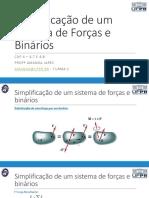 Aula 20 - Simplificações de um Sistema de Forças e Binários.pdf