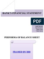 BANK'S FINANCIAL STATEMENT