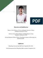 Simon Peter Ho CV With Photo