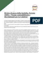 Divieto Di Pesca Della Sardella Norme Contraddittorie e Discriminanti Per La Calabria