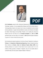 Profile of Dr M Kanthababu