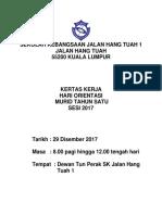 Kertas Kerja Hari Orientasi Tahun 1 2018