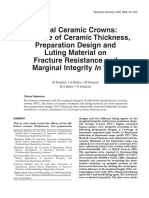 Influence of Ceramic Thickness,Luting and Design on Fracture Resistance