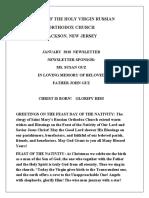 Nativity of the Holy Virgin Church - Newsletter - January, 2018