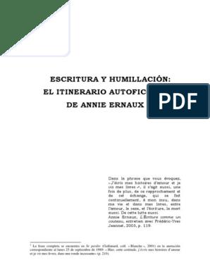 Annie Ernaux Escritura Y Humillacionpdf Fiction Et