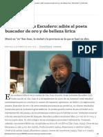 ESCUDERO_Adiós Al Poeta Buscador de Oro y de Belleza Lírica