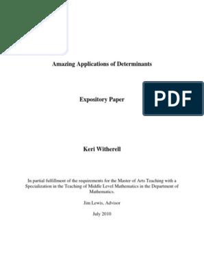 Applications of Determinants pdf | Determinant | Matrix (Mathematics)
