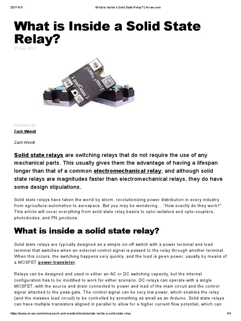 What Is Inside A Solid State Relay Arrow Switch Common Terminal In