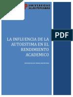 Influencia de La Autoestima en El Renimiento Academico