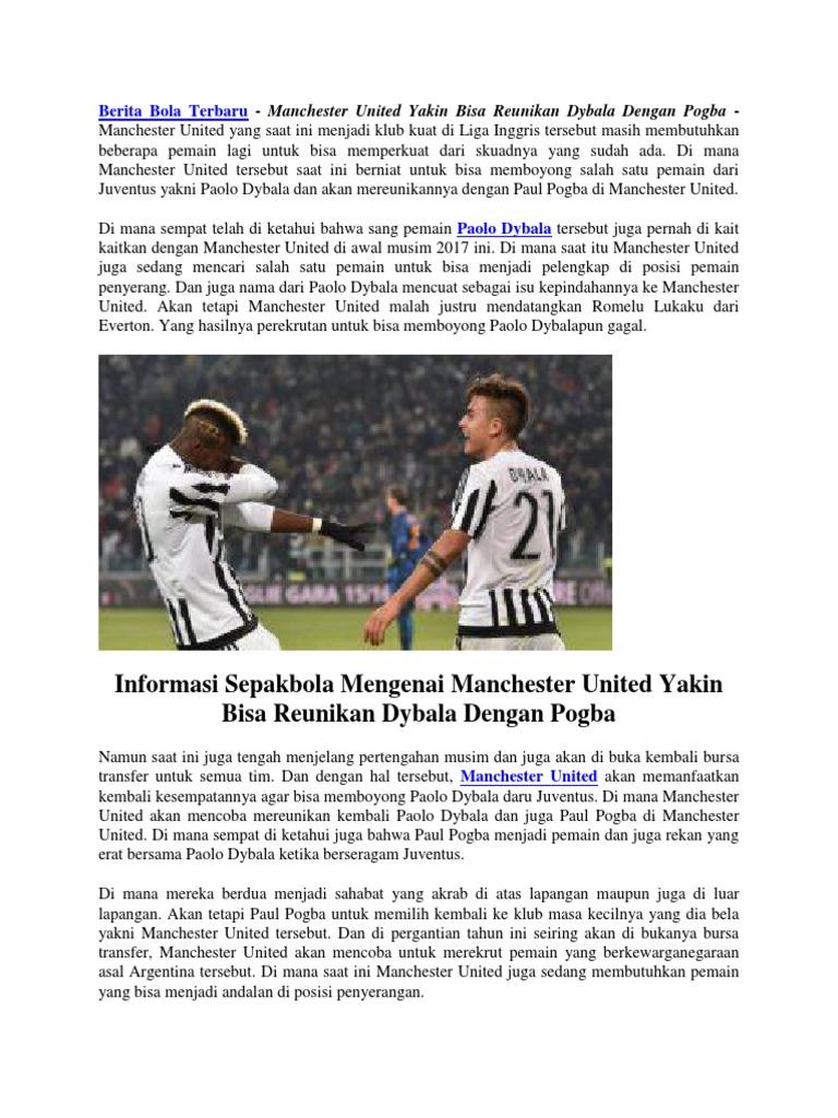 Manchester United Yakin Bisa Reunikan Dybala Dengan Pogba