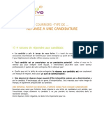 Reponse a Une Candidature