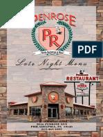Penrose Diner - Late Night - Menu