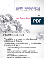 Critical Thinking Analysis PSSLC