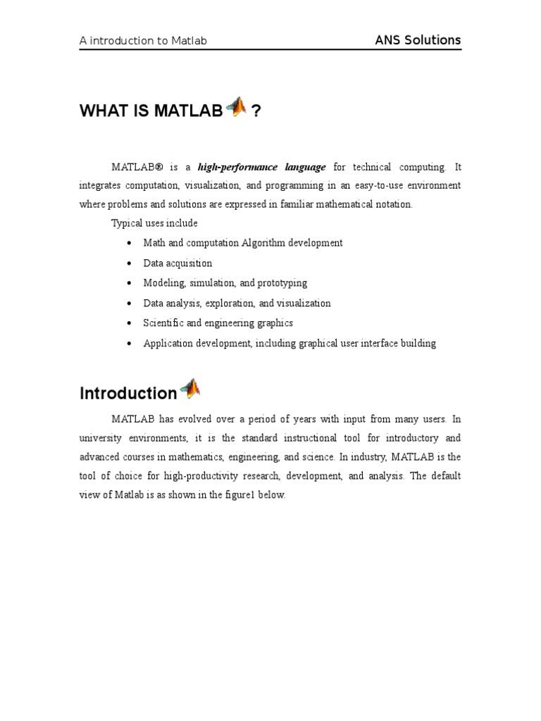 What is Matlab   Trigonometric Functions   Matrix (Mathematics)