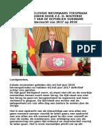 Radio- En Televisie Nieuwjaarstoespraak 2017-2018 president Desi Bouterse