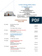 1. Schedule of Divine Services - January, 2018
