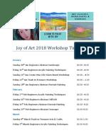 Joy of Art 2018 Workshop Timetable