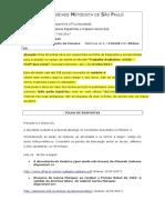 Folha de Respostas - Trabalho Avaliativo Profª Ana Lúcia